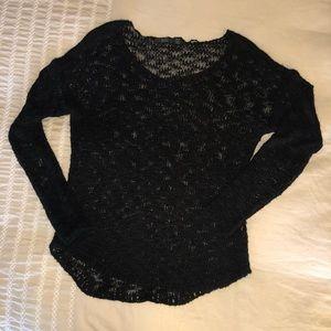 Sheer black knit sweater